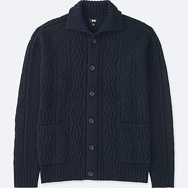 MEN CABLE KNIT LONG-SLEEVE CARDIGAN, NAVY, medium