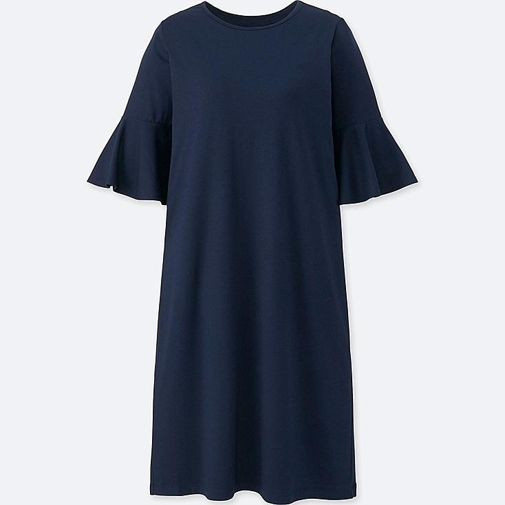 WOMEN FLARED HALF-SLEEVE BRA DRESS (ONLINE EXCLUSIVE), NAVY, large