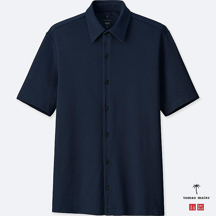 MEN AIRism OPEN POLO SHIRT, NAVY, large