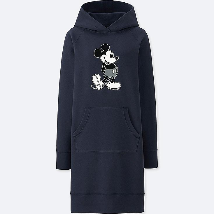 WOMEN MICKEY STANDS GRAPHIC SWEAT LONG-SLEEVE DRESS, NAVY, large