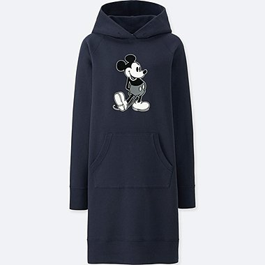 WOMEN MICKEY STANDS GRAPHIC SWEAT LONG-SLEEVE DRESS, NAVY, medium