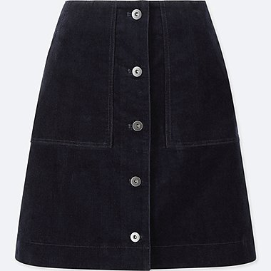 WOMEN CORDUROY FRONT BUTTON HIGH-WAIST MINI SKIRT, NAVY, medium