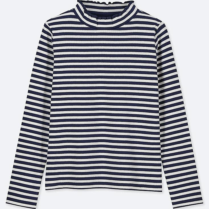 GIRLS RIBBED FRILL STRIPED LONG-SLEEVE T-SHIRT, NAVY, large