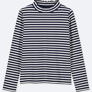 GIRLS FRILL STRIPED HIGH NECK LONG SLEEVED T-SHIRT