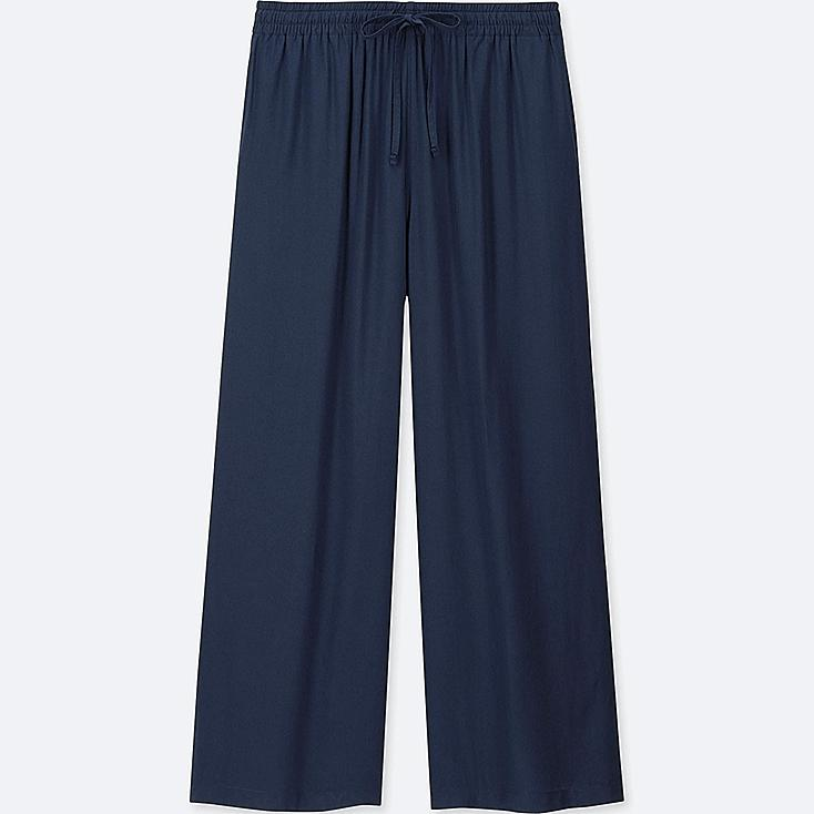 WOMEN DRAPE WIDE PANTS, NAVY, large