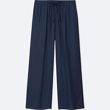 WOMEN DRAPE WIDE PANTS, NAVY, medium