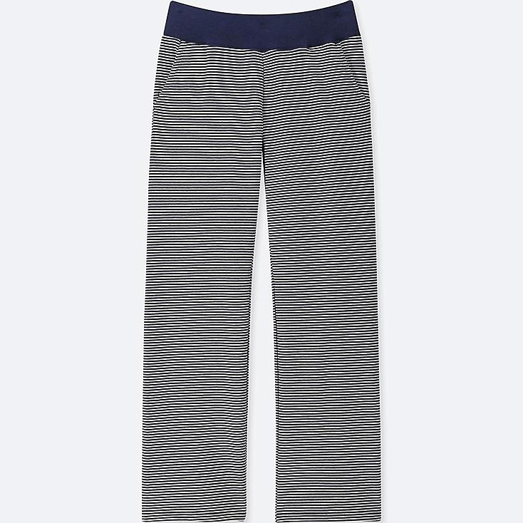 WOMEN ULTRA STRETCH STRIPE LOUNGE PANTS, NAVY, large