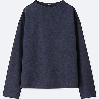 WOMEN WOOL-BLEND LONG-SLEEVE PULLOVER, NAVY, medium