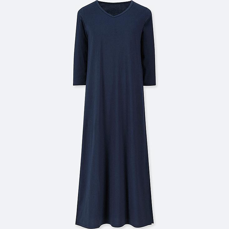 WOMEN 3/4 SLEEVE RELAX BRA DRESS, NAVY, large