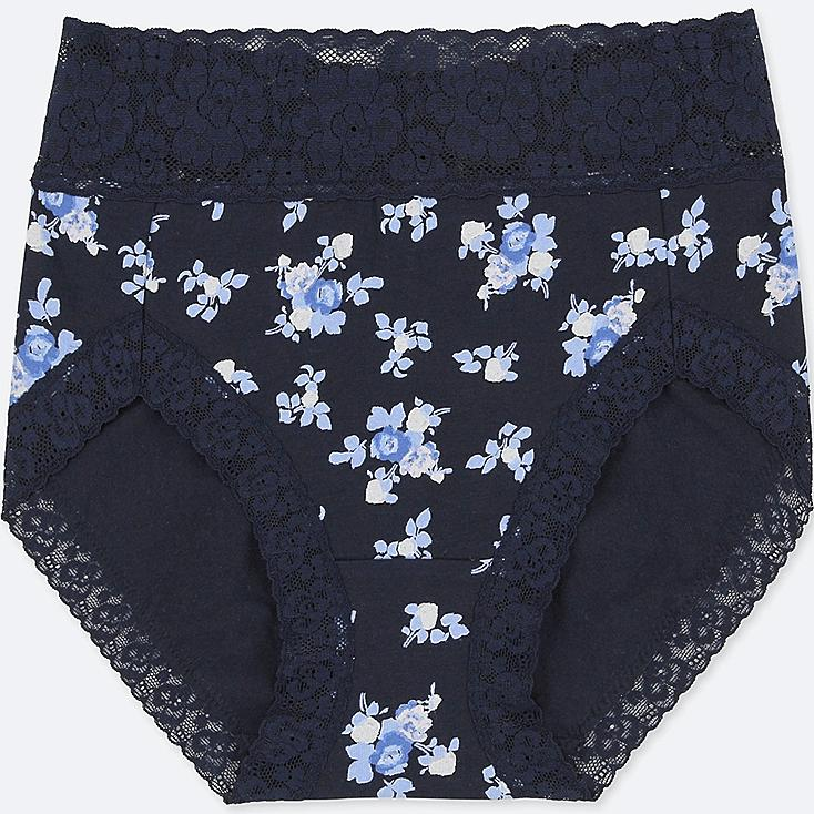 WOMEN HIGH-RISE FLORAL-PRINT BRIEFS, NAVY, large