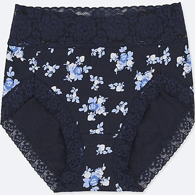 WOMEN HIGH-RISE FLORAL-PRINT BRIEFS, NAVY, medium