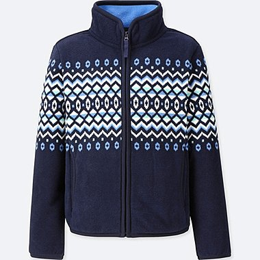 GIRLS FLEECE FAIR ISLE PRINT ZIPPED JACKET