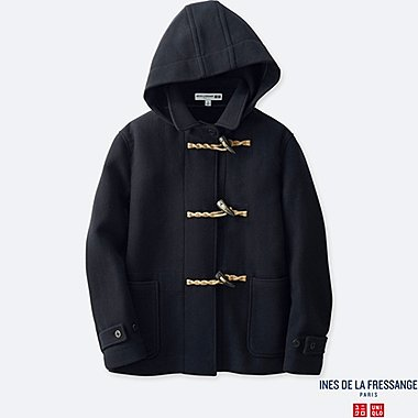 WOMEN DUFFLE SHORT COAT (INES DE LA FRESSANGE), NAVY, medium