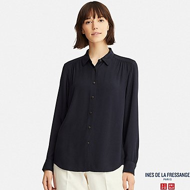 WOMEN INES RAYON LONG SLEEVE BLOUSE