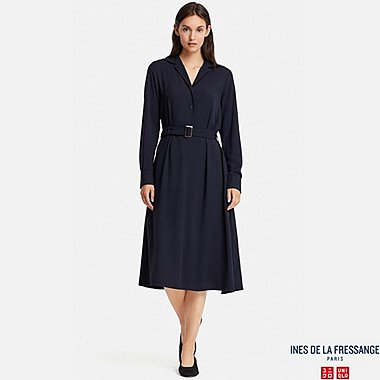 WOMEN INES RAYON LONG SLEEVE DRESS