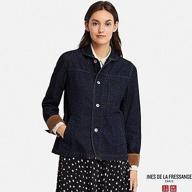WOMEN DENIM COVERALL (INES DE LA FRESSANGE), NAVY, medium