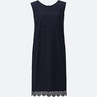 WOMEN LACE SLEEVELESS DRESS (ONLINE EXCLUSIVE), NAVY, medium