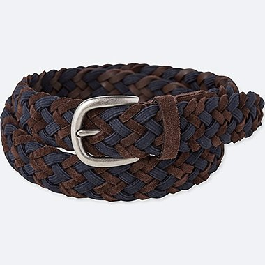 MEN LEATHER SUEDE WOVEN BELT