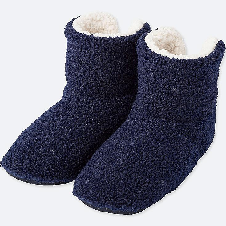 WOMEN CURLY FLEECE SLIPPERS, NAVY, large