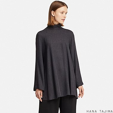 WOMEN HANA TAJIMA RAYON HIGH NECK LONG SLEEVED TUNIC