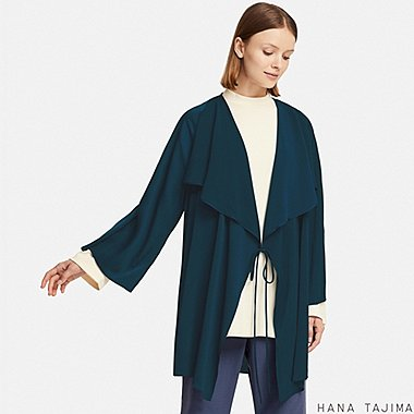 WOMEN WRAP LONG-SLEEVE TUNIC (HANA TAJIMA), NAVY, medium