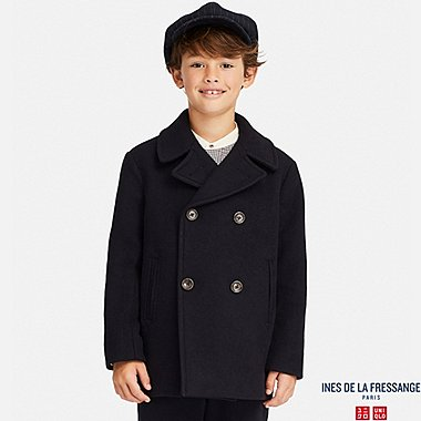 KIDS WOOL-BLEND PEACOAT (INES DE LA FRESSANGE), NAVY, medium