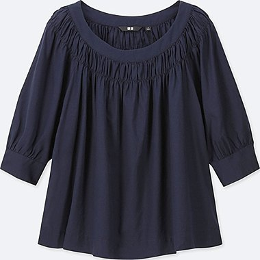 WOMEN COTTON GATHERED 3/4 SLEEVED BLOUSE