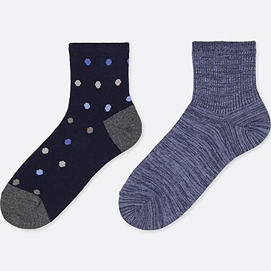 BOYS HALF SOCKS (SET OF 2), NAVY, medium