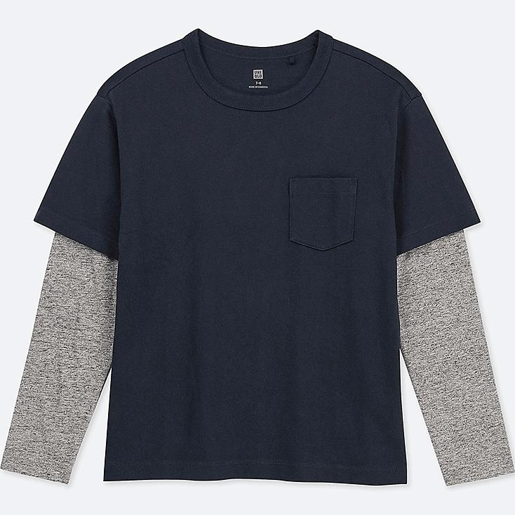 KIDS LAYERED CREW NECK LONG-SLEEVE T-SHIRT, NAVY, large