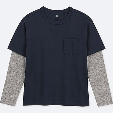 KIDS LAYERED CREWNECK LONG-SLEEVE T-SHIRT, NAVY, medium