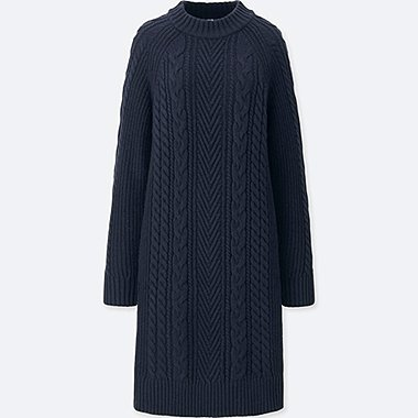 WOMEN CABLE KNIT LONG SLEEVED DRESS