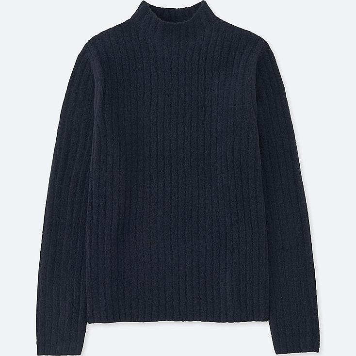 WOMEN WIDE-RIBBED MOCK NECK SWEATER, NAVY, large