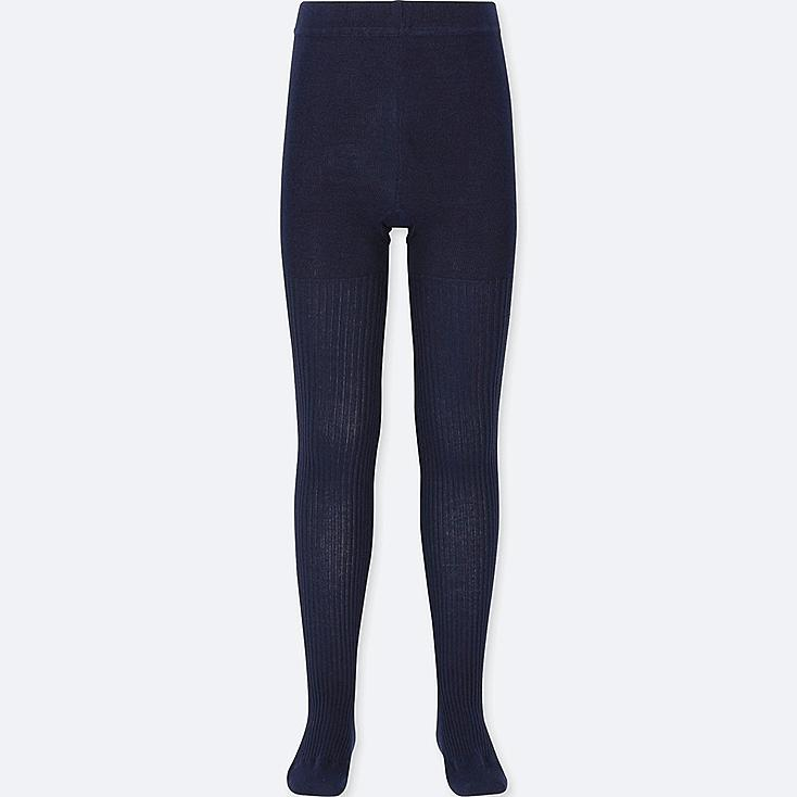 GIRLS KNITTED TIGHTS, NAVY, large