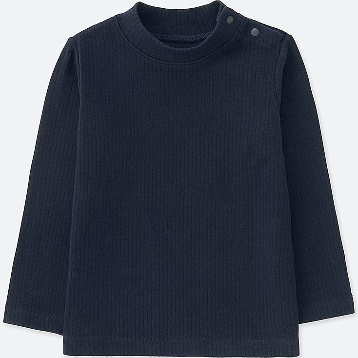TODDLER RIBBED HIGH-NECK LONG-SLEEVE T-SHIRT, NAVY, large