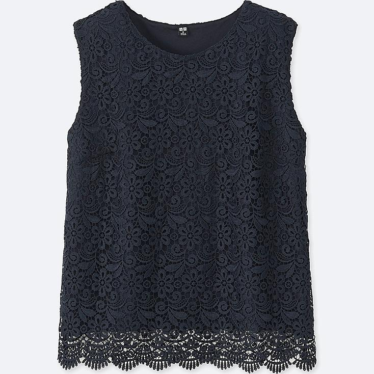 WOMEN LACE SLEEVELESS T-SHIRT (ONLINE EXCLUSIVE), NAVY, large