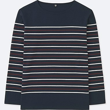 MEN WASHED STRIPED LONG SLEEVE T-SHIRT