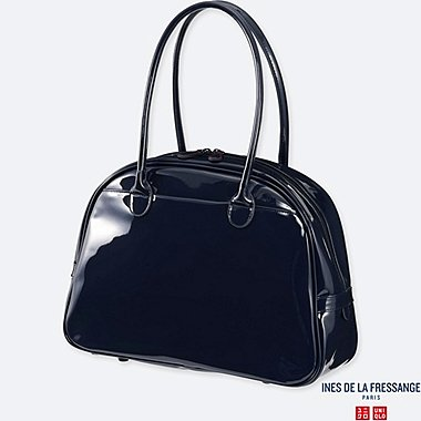 WOMEN ENAMEL TOTE BAG (INES DE LA FRESSANGE), NAVY, medium