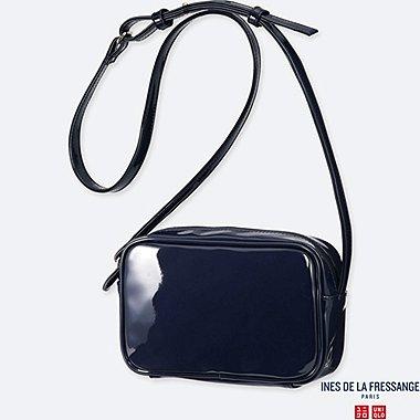 WOMEN ENAMEL SHOULDER BAG (INES DE LA FRESSANGE), NAVY, medium
