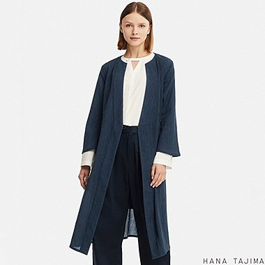 WOMEN WRAP LONG COAT (HANA TAJIMA), NAVY, medium