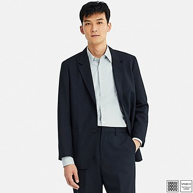 MEN U WOOL-BLEND JACKET, NAVY, medium