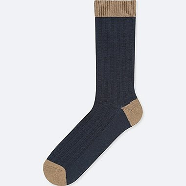 MEN HEATTECH WAFFLE SOCKS, NAVY, medium