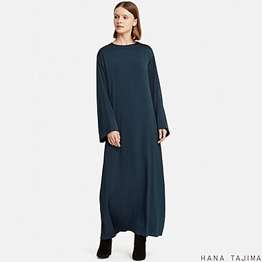 WOMEN FLARE LONG-SLEEVE LONG DRESS (HANA TAJIMA), NAVY, medium