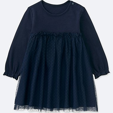 TODDLER LONG-SLEEVE TULLE DRESS, NAVY, medium