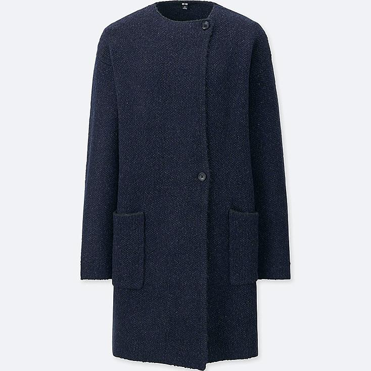 WOMEN TWEED KNITTED COAT, NAVY, large