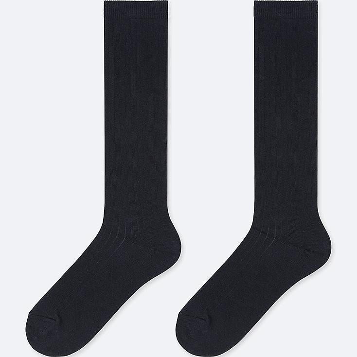 KIDS KNEE HIGH SOCKS (SET OF 2), NAVY, large