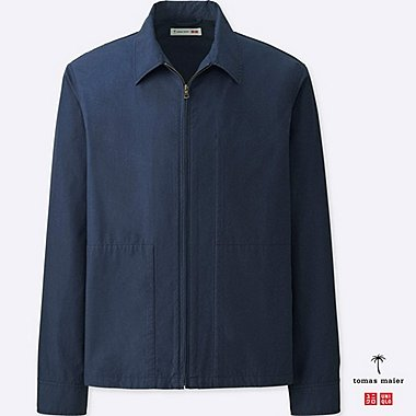 MEN COTTON POPLIN ZIP-UP BLOUSON, NAVY, medium