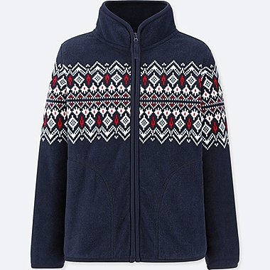 KIDS FLEECE FAIR ISLE PRINT LONG SLEEVED JACKET