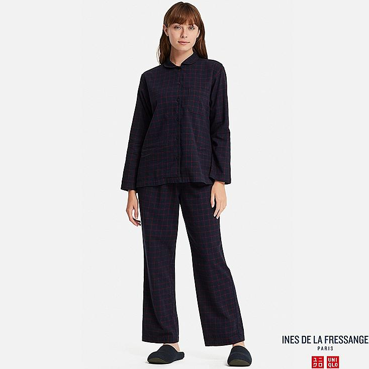 WOMEN FLANNEL LONG-SLEEVE PAJAMAS (INES DE LA FRESSANGE), NAVY, large