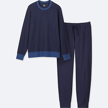 MEN ULTRA STRETCH LONG-SLEEVE LOUNGE SET, NAVY, medium