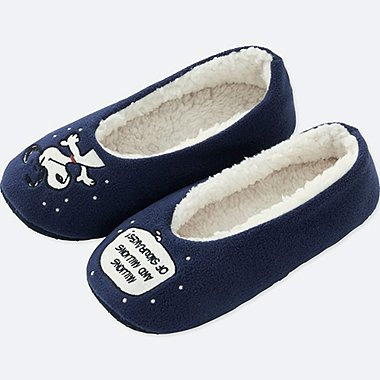 PEANUTS FLEECE SLIPPERS, NAVY, medium